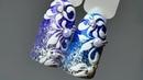 Вензеля пошагово 💙 Праздничный дизайн ногтей 💙