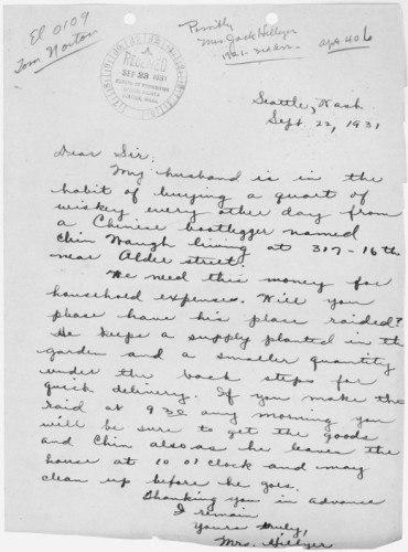 Донос, который написала на своего мужа и его поставщика виски домохозяйка из Сиэтла в Бюро Запрета (бюро по контролю за соблюдением сухого закона