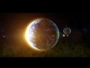 Earth and moon with sun glare