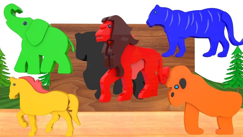 Learn Colors With Zoo Animals Wrong Shadow Slots Animal Cartoon Toys Fun Play Matching Game For Kids