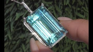 GIA 47.15 tcw Internally Flawless Clarity Top Gem Aquamarine Diamond Pendant Necklace C205
