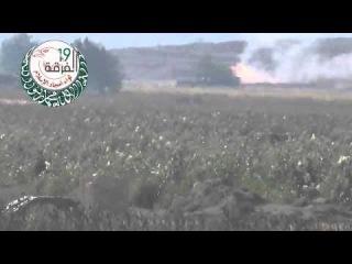 СИРИЯ  Боевики подбивают  Т 72 из ПТУР  Механик водитель точно спасся