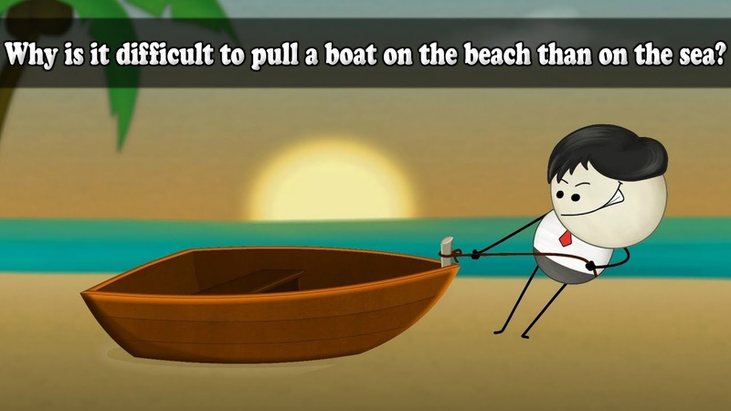 Friction - Why is it difficult to pull a boat on the beach than on the sea | aumsum kids