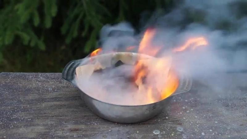 Химический опыт получения огня без спичек