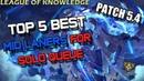 ✔ Top 5 Best MID LANERS for Solo Queue - Patch 5.4 - TIER LIST   League of Legends   Season 5