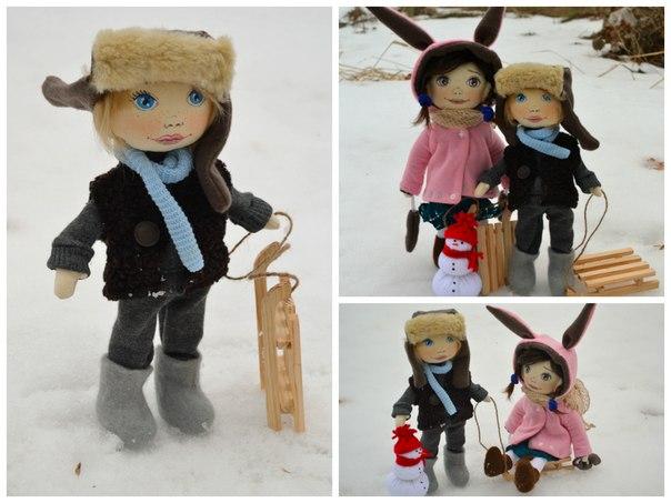 Зимняя прогулка. Текстильные куклы (1 фото)