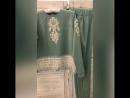 Безумно красивый трикотажный костюм, цвета неба😍😍 с бахромой и аппликацией расшитой , бисером, бусинами , кристалами😍😍😍