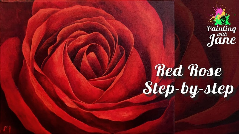 Red Rose Painting - Step by Step Acrylic Painting on Canvas for Beginners