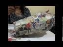 Reciclado Jarrón en técnica cartapesta