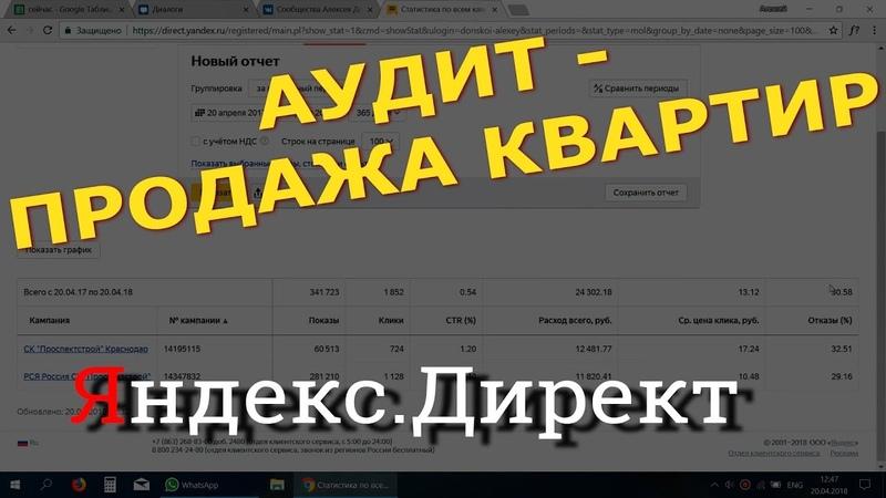 Аудит Яндекс Директ - по новостройкам.    Алексей Донской.
