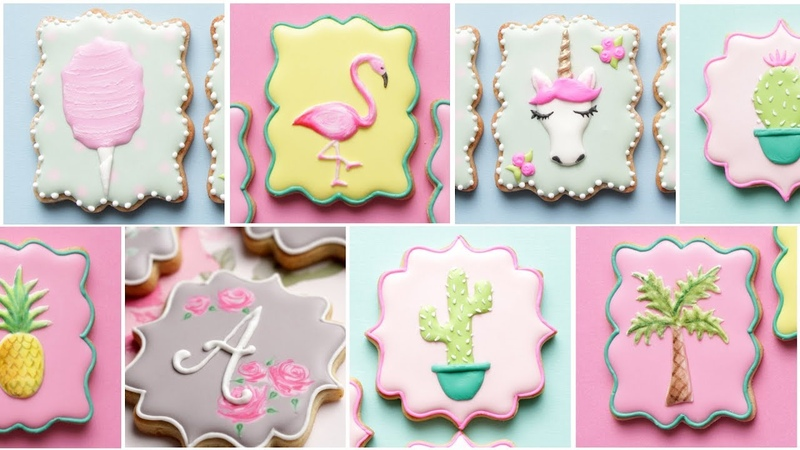 UNICORN, COTTON CANDY, FLAMINGO, PALM TREE COOKIES and more! Cookie Decorating Tutorials