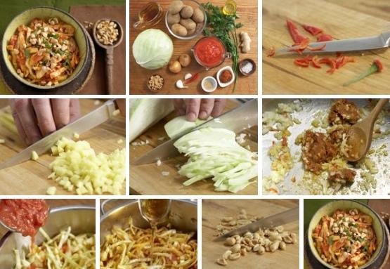 тушеная капуста с имбирем, картофелем и арахисом – азиатские ароматы приготовим пряное и ароматное азиатское блюдо – тушеную капусту с имбирем, картофелем и арахисом. это, конечно, довольно необычная вариация тушеной капусты, но блюдо получается