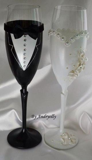 Украшение свадебных бокалов жених и невеста своими руками