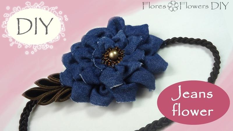 🌸DIY Headband with a jeans flower. Vincha con la flor de jeans que siempre será de moda.