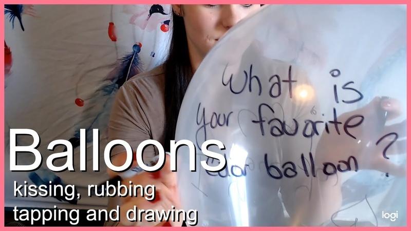 ASMR Balloons Rubbing kissing tapping drawing