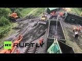 Разбор завалов после взрыва на Донецкой железной дороге продолжается