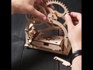 Деревянная визитница! Сборная модель механическая шкатулка UGEARS