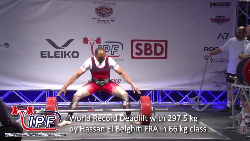 World Record Deadlift with 297.5 kg by Hassan El Belghiti FRA in 66 kg class
