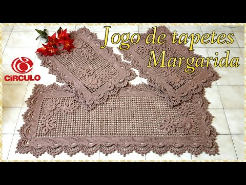 🌼 Jogo de tapetes Margarida em Crochê. 2/3 Tapetes menores .Por Vanessa Marcondes.