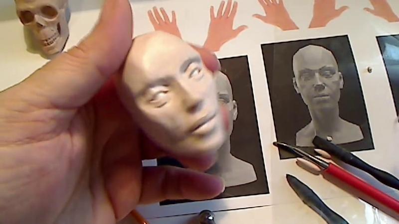 Tutorial 2 - Sculpting a female head in polymer clay by Linda Ehrenfried