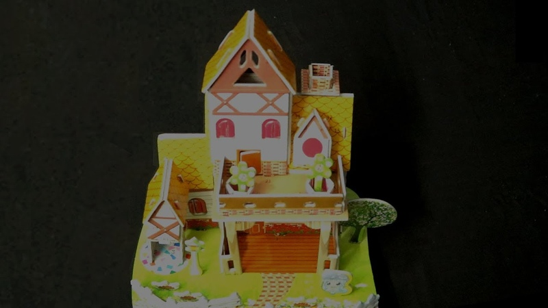 KIDS MAKE 3D PUZZLE HOUSE WITH FOAM TOY BOARD AT HOME