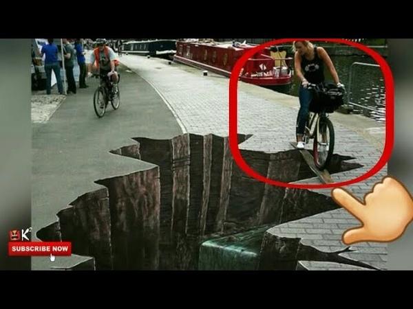 Kamu pasti tertipu jika melihat jalan seperti ini BEST ART STREET 3D ILLUSION