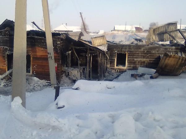 Ночью 1 февраля в Грамотеино сгорел дом с надворными постройками