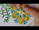 Hand embroidery of flower with closed herringbone stitch