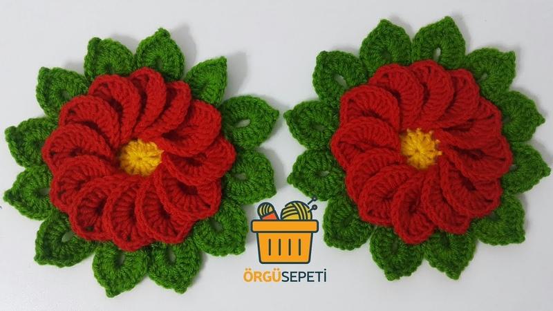 Örgü den gül yapımı | How to Knit Rose Flower ?
