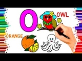 Teach Children to Draw Alphabet O for Owl Coloring Book Kids Learn to Paint Colors Pages Video#203