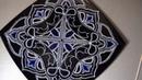Точечная роспись квадратной тарелки Серебро и бирюза