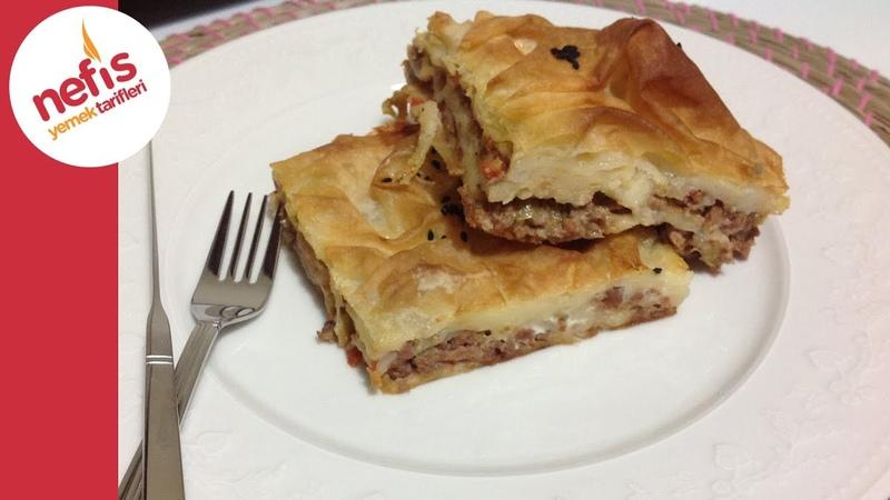 Турецкий бёрек с тестом юфка с мясной начинкой с помидорами, перцем / Kıymalı Tepsi Böreği Tarifi | Nefis Yemek Tarifleri