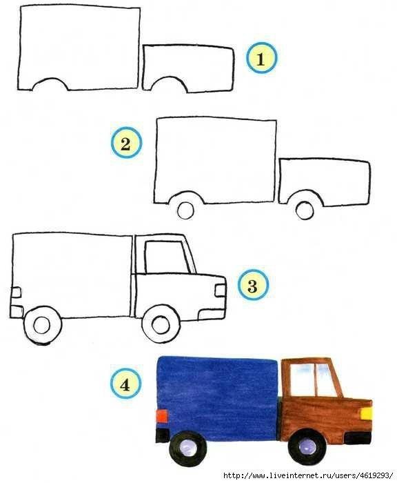 Как поэтапно рисовать грузовую машину