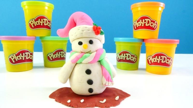 Hamur oyunları. Play-Doh kardan adam yapıyoruz