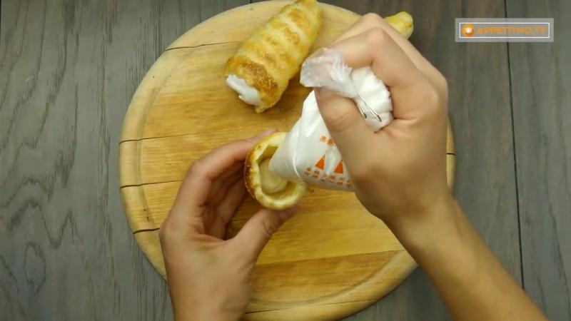 Родом из детства! Лакомство из доступных ингредиентов - трубочки с белковым кремом.
