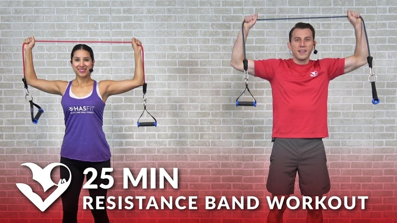 25 Min Full Body Resistance Band Workout for Women Men - Elastic Exercise Band Workouts Training