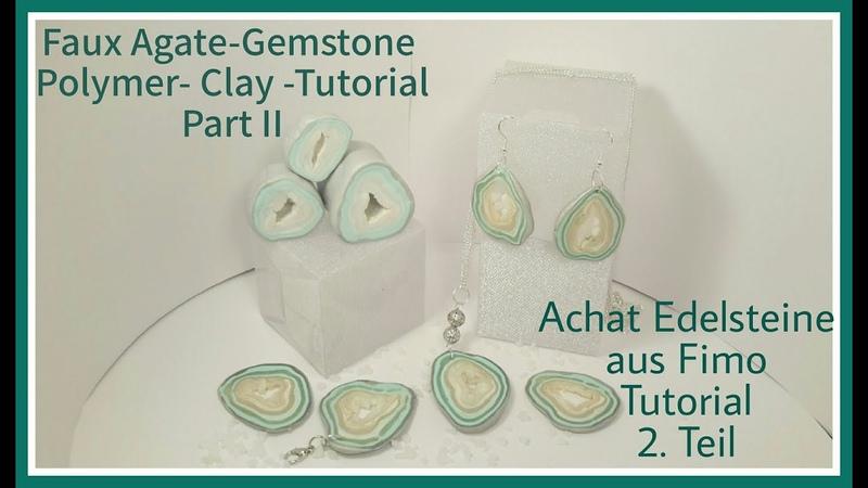 Faux Agate-Gemstone Polymer clay Tutorial Part II, Achat-Edelsteine aus Fimo Teil 2,