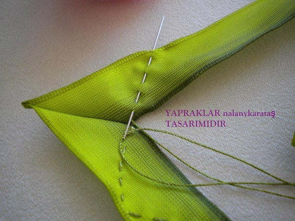 手工丝带花制作教程:叶子的制作 - maomao - 我随心动