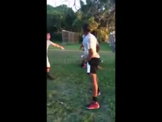 Uncle tries to protect his nephew in a fight.
