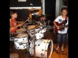 RHCP - jamming in Gdansk 15.07.2014 Igor Falecki - (12 y old) dr.,Kamil Pyrek - (10 y old) bas
