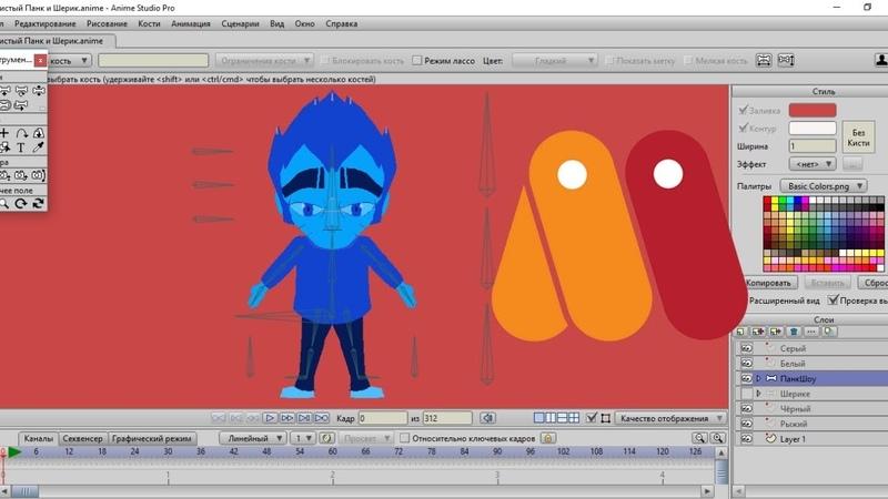 Разработка персонажа Панк Шоу для анимации в Anime Studio Pro (Moho)