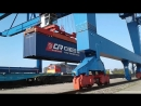 Transhipment of containers from the European to the Russian train