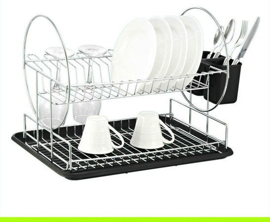 Deluxe Chrome-plated Steel 2-Tier Dish Rack with Drainboard / Cutlery Cup (Black)