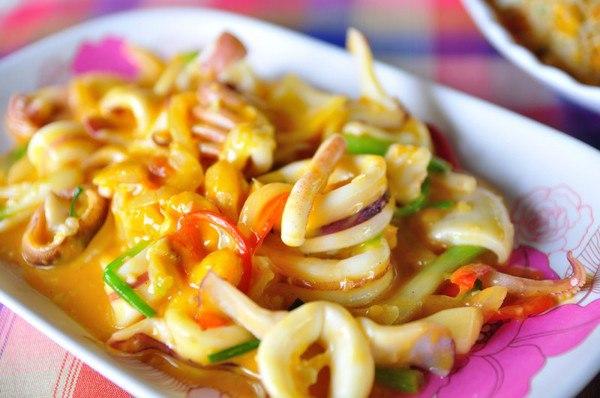 кальмары с луком рецепт фото