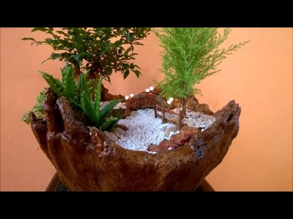 Vaso para Mini Jardim Feito de Toalha