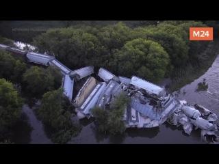 Крушение поезда в США штат Айова