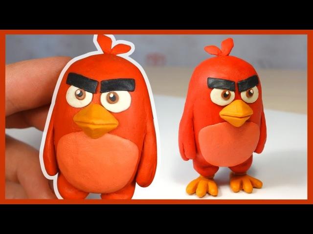 Как слепить Энгри Бердз из пластилина. Ред. Red (Angry Birds Movie) of plasticine.