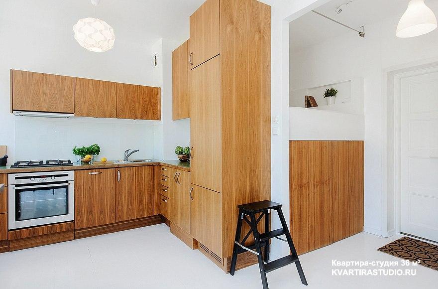 Белые стены и пол в квартире-студии 36 м в Копенгагене / Дания - http://kvartirastudio.