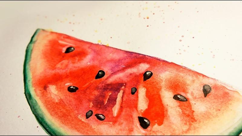 Как я рисую арбуз акварелью. Акварельная иллюстрация для стока: арбуз / watercolor sketch watermelon