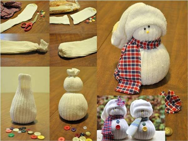 Снеговик из носка своими руками мастер класс